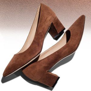 M. Gemi The Dolcetto Suede Heels Luggage 37